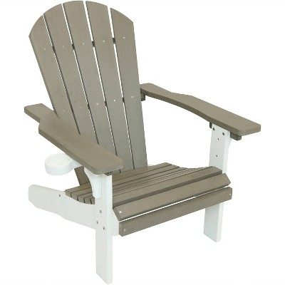 All-Weather Adirondack Chair - Single - Gray/White - Sunnydaze Decor