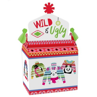 Big Dot of Happiness Wild and Ugly Sweater Party - Treat Box Party Favors - Holiday and Christmas Animals Party Goodie Gable Boxes - Set of 12