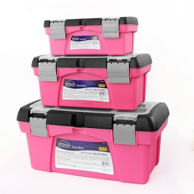 Apollo Tools 3pc DT5005P Tool Box Pink