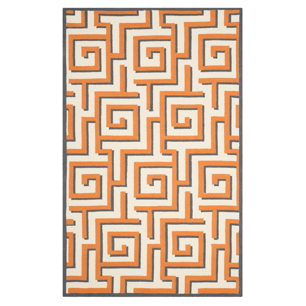 Ivory/Brown Geometric Hooked Area Rug 5'X8' - Safavieh, Ivorynbrown