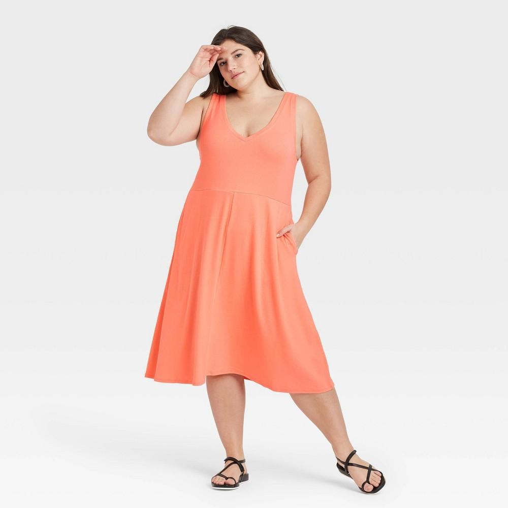 Women 39 S Plus Size Sleeveless Rib Knit Ballet Dress A New Day 8482 Dark Peach 1x