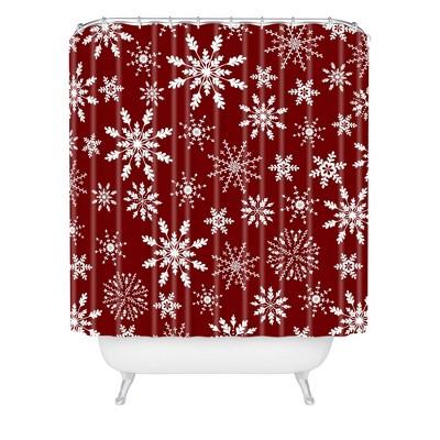 Iveta Abolina Silent Night Shower Curtain Red - Deny Designs