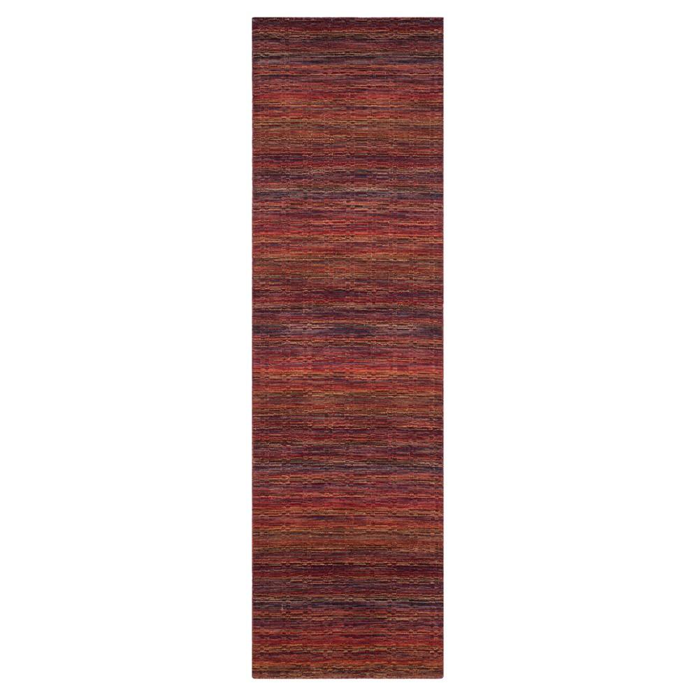 Red Stripe Loomed Runner 2'3X8' - Safavieh