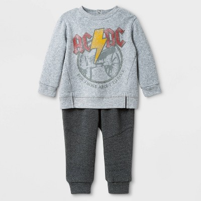 Baby Boys' 2pc AC/DC Top and Bottom Set - Heather Gray 0-3M