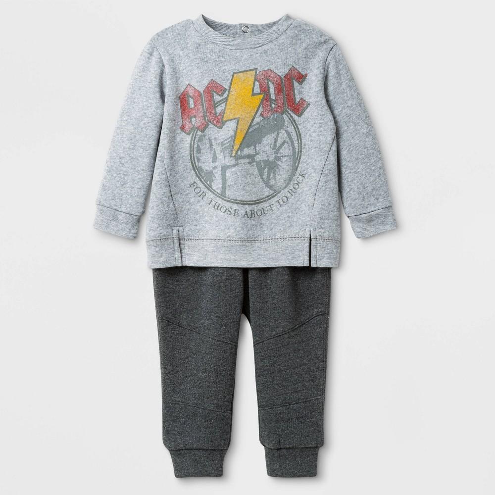 Image of Baby Boys' 2pc AC/DC Top and Bottom Set - Heather Gray 0-3M, Boy's, Gray/Grey
