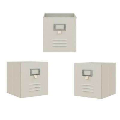 RealRooms Colten Metal Locker Storage Bins, Cube Organizer, Set of 3