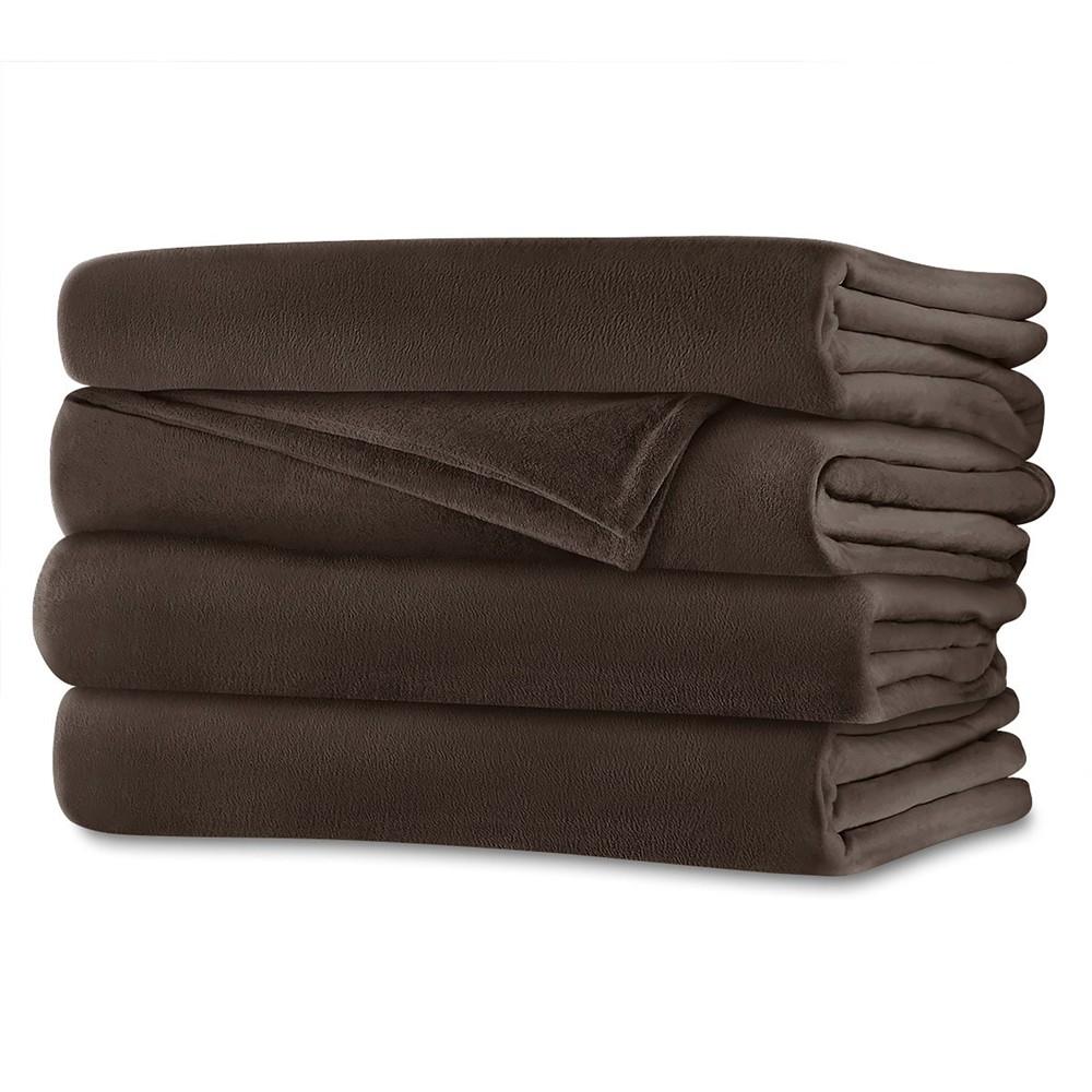 Velvet Plush Electric Blanket (Twin) Walnut (Brown) - Sunbeam