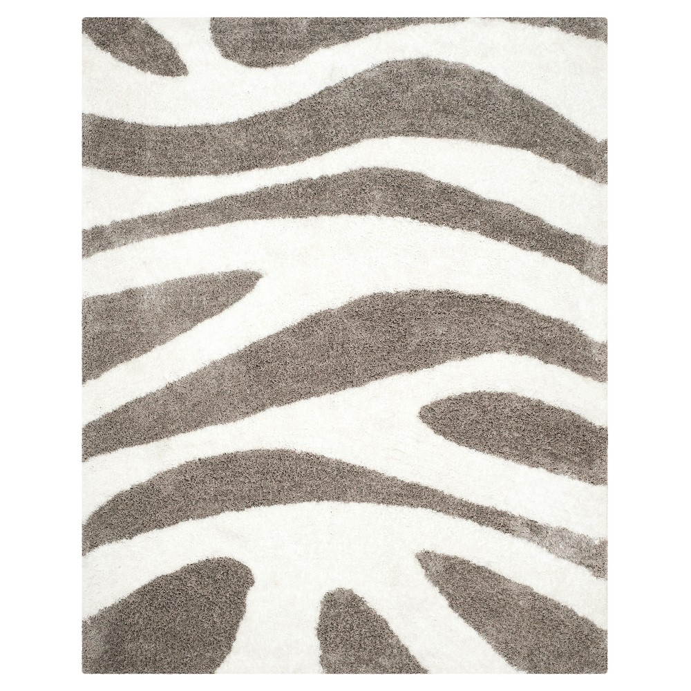 Barcelona Shag Rug - White/Silver - (8'X10') - Safavieh, Ivory/Silver