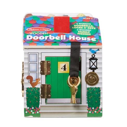 Melissa Doug Take Along Wooden Doorbell Dollhouse Doorbell Sounds Keys 4 Poseable Wooden Dolls