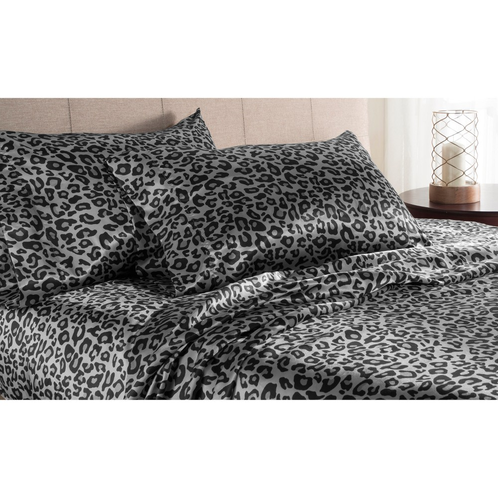 Luxury Satin 100% Polyester Woven Printed Sheet Set Full Snow Leopard