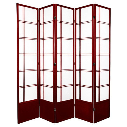 7 ft. Tall Double Cross Shoji Screen - Rosewood (5 Panels) - image 1 of 1