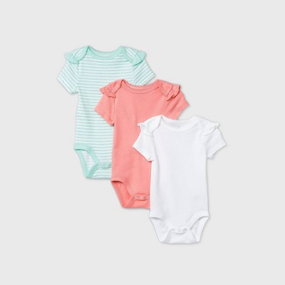 Baby Girls' 3pk Short Sleeve Basic Bodysuit - Cloud Island™ Coral 0-3M