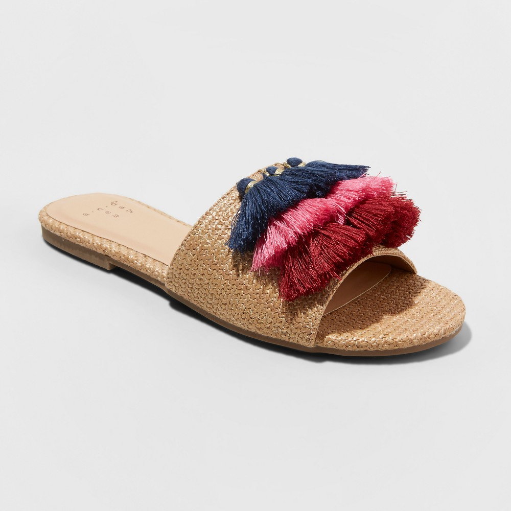Women's Ayana Raffia Tassle Slide Sandals - A New Day Tan 7