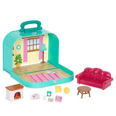Li'l Woodzeez Toy Furniture Set in Carry Case 13pc - Travel Suitcase Living Room Playset