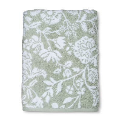 Performance Floral Bath Towel Forgotten Sage - Threshold™