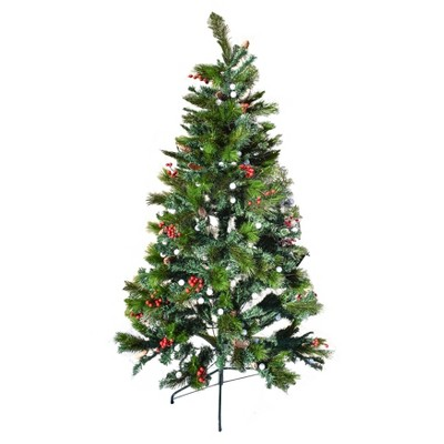 ALEKO CT7FT002 Multi-Colored Pre-Lit Artificial Bluetooth Musical Christmas Tree with Wintry Accents - 7 Foot - Green