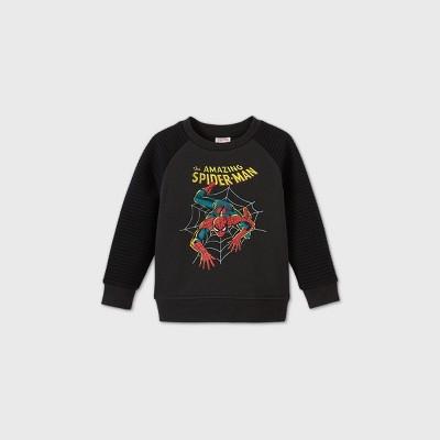 Toddler Boys' Spider-Man Moto Crew Neck Sweatshirt - Charcoal Gray