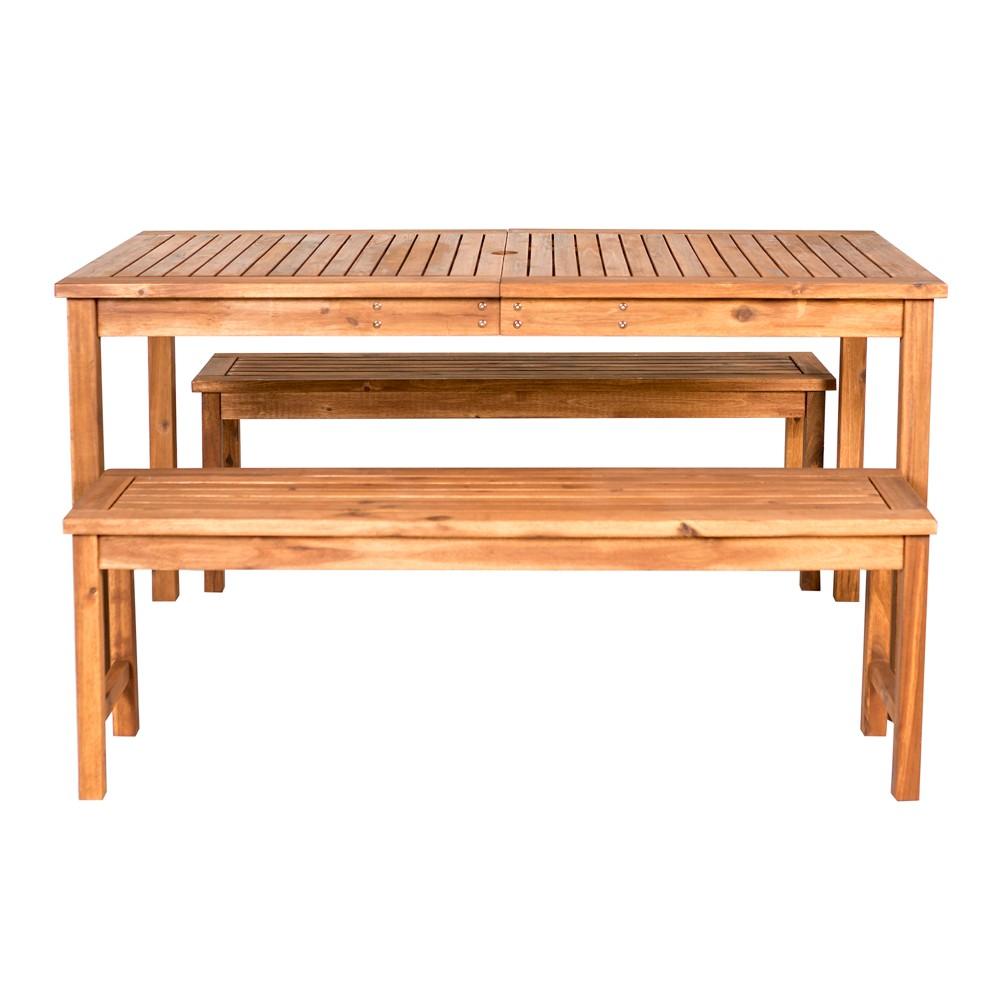 Image of 3pc Acacia Wood Simple Patio Dining Set Brown - Saracina Home