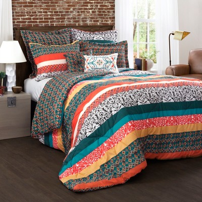 Full/Queen 7pc Boho Stripe Comforter Set Turquoise/Tangerine - Lush Décor