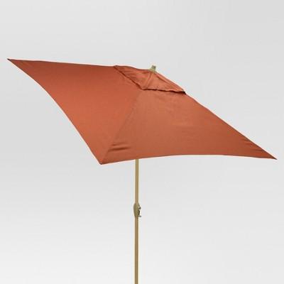 6.5' x 6.5' Square Umbrella - Orange - Light Wood Finish - Threshold™