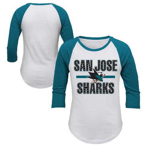 NHL San Jose Sharks Girl's Hot Shot White/ 3/4 Sleeve T-Shirt - image 1 of 3