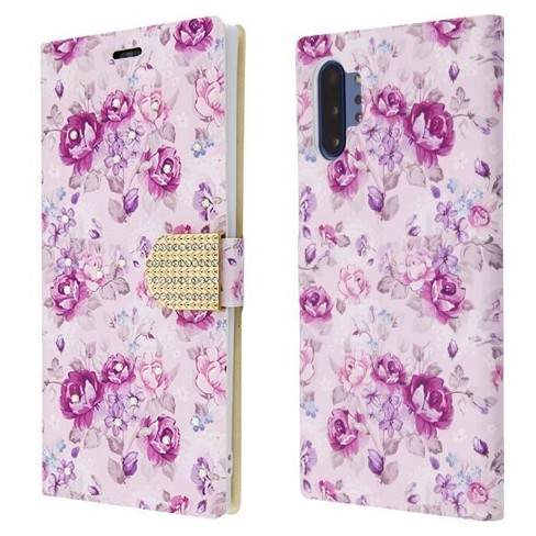 For Samsung Galaxy Note 10 Plus Purple Flowers MyJacket Leather Case Cover - image 1 of 3