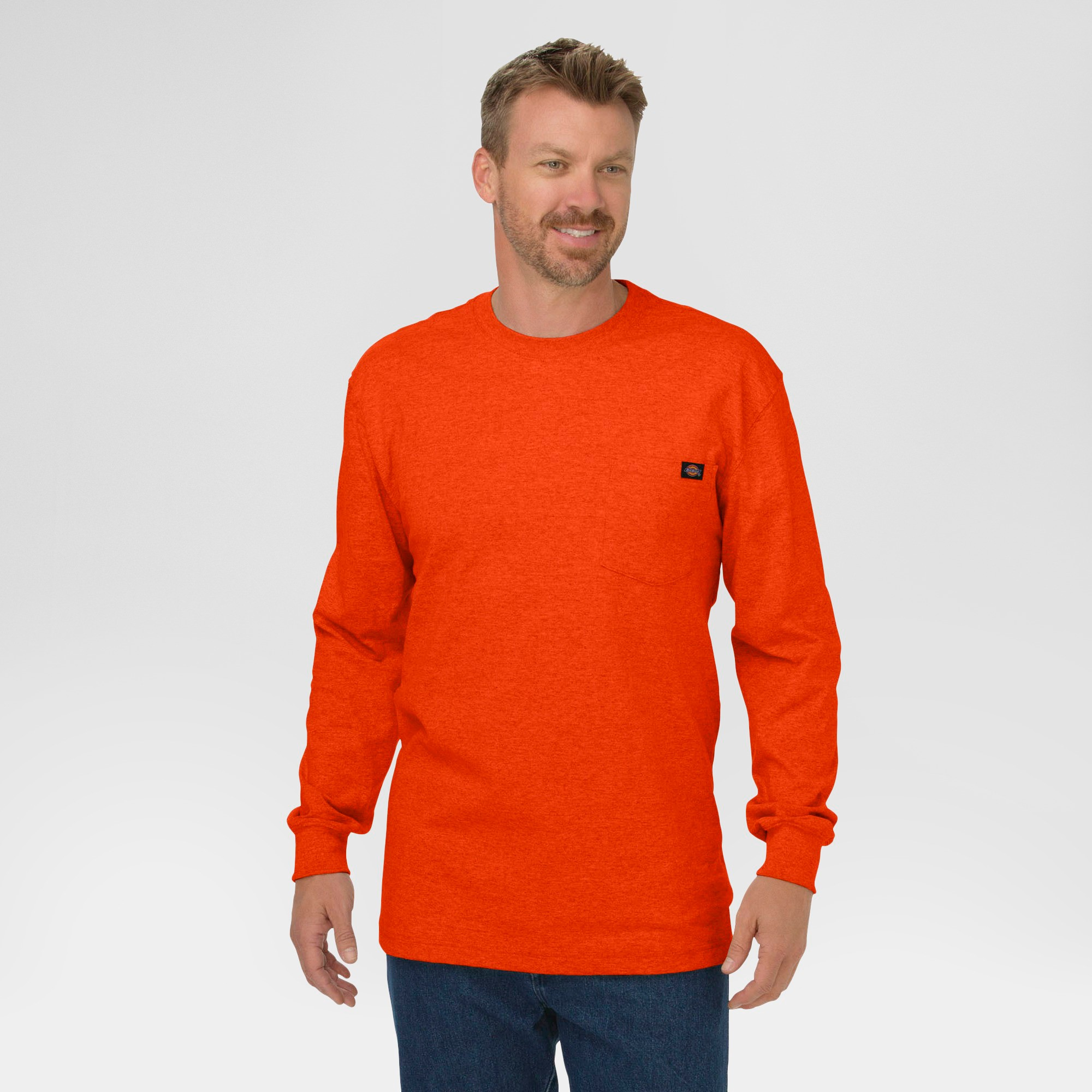 Dickies Men's Cotton Heavyweight Long Sleeve Pocket T-Shirt- Orange XL