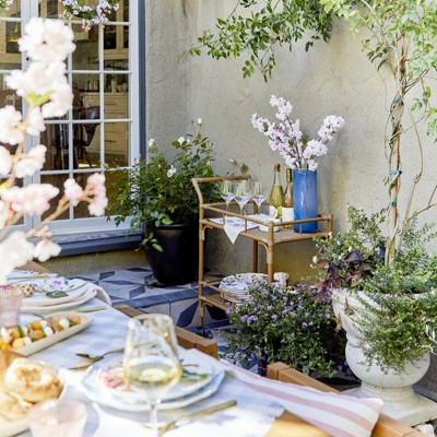 Spring Brunch Outdoor Bar Cart Styled by Emily Henderson