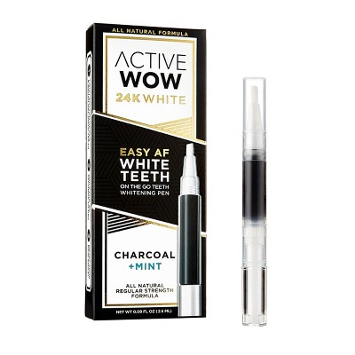 Active Wow White Charcoal Teeth Whitening Pen with Mint - 0.09 fl oz