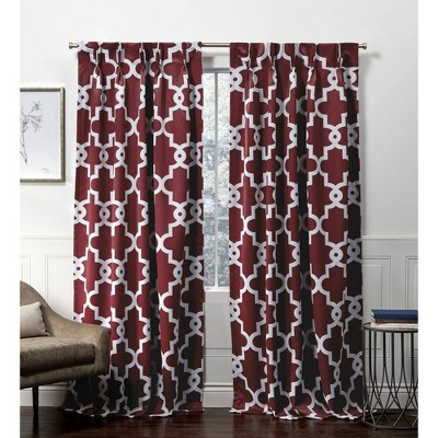 "84""x52"" Ironwork Back Tab Blackout Window Curtain Panels Red - Exclusive Home"