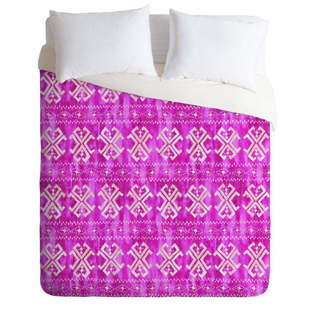 King Schatzi Brown Justina Mark Duvet Set Bright Pink Deny Designs