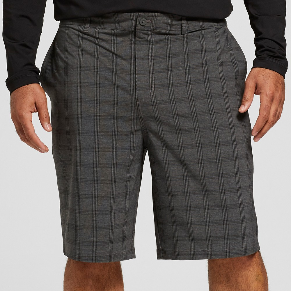 "Image of ""Men's Big & Tall Plaid 10.5"""" Broadband Hybrid Swim Shorts - Goodfellow & Co Black 58"""
