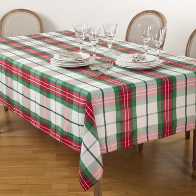 """Saro Lifestyle Plaid Pattern Design Winter Christmas Holiday Tablecloth, 50""""x70"""", Multi, Oblong"""