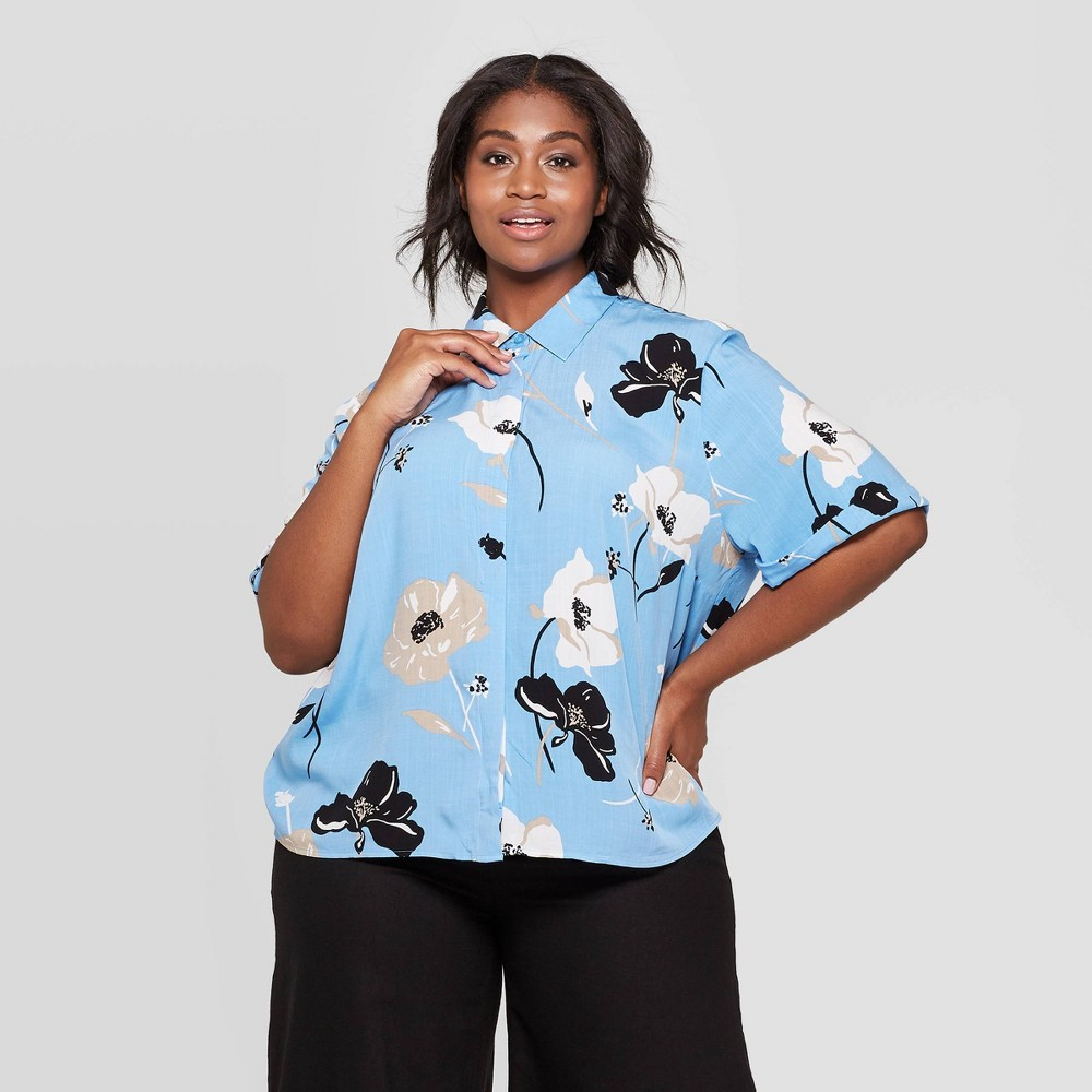 Women's Plus Size Floral Print Short Sleeve Collared Shirt - Who What Wear Blue 4X