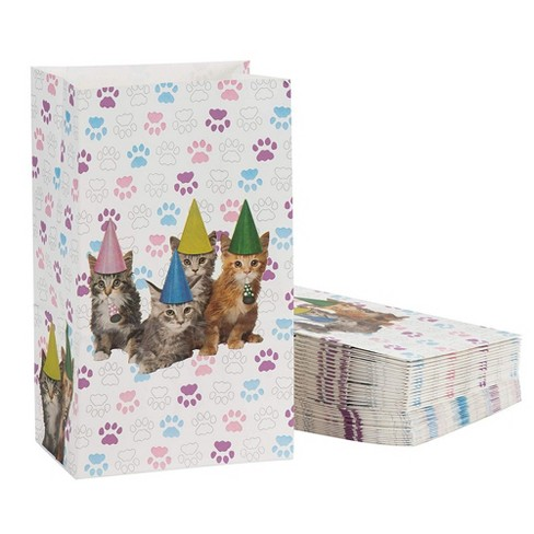 Cat Party Favor Bags - 36-Pack Cat Birthday Pet Party Supplies, Small Paper Gift Bags for Goodies, Cats and Paws Design, 5.1 x 8.7 x 3.2 inches - image 1 of 2
