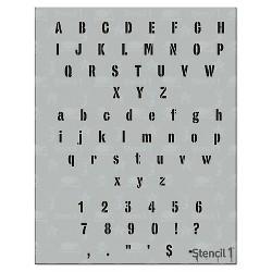 "Stencil1 Industrial Font .5"" - Letter Stencil 8.5"" x 11"""