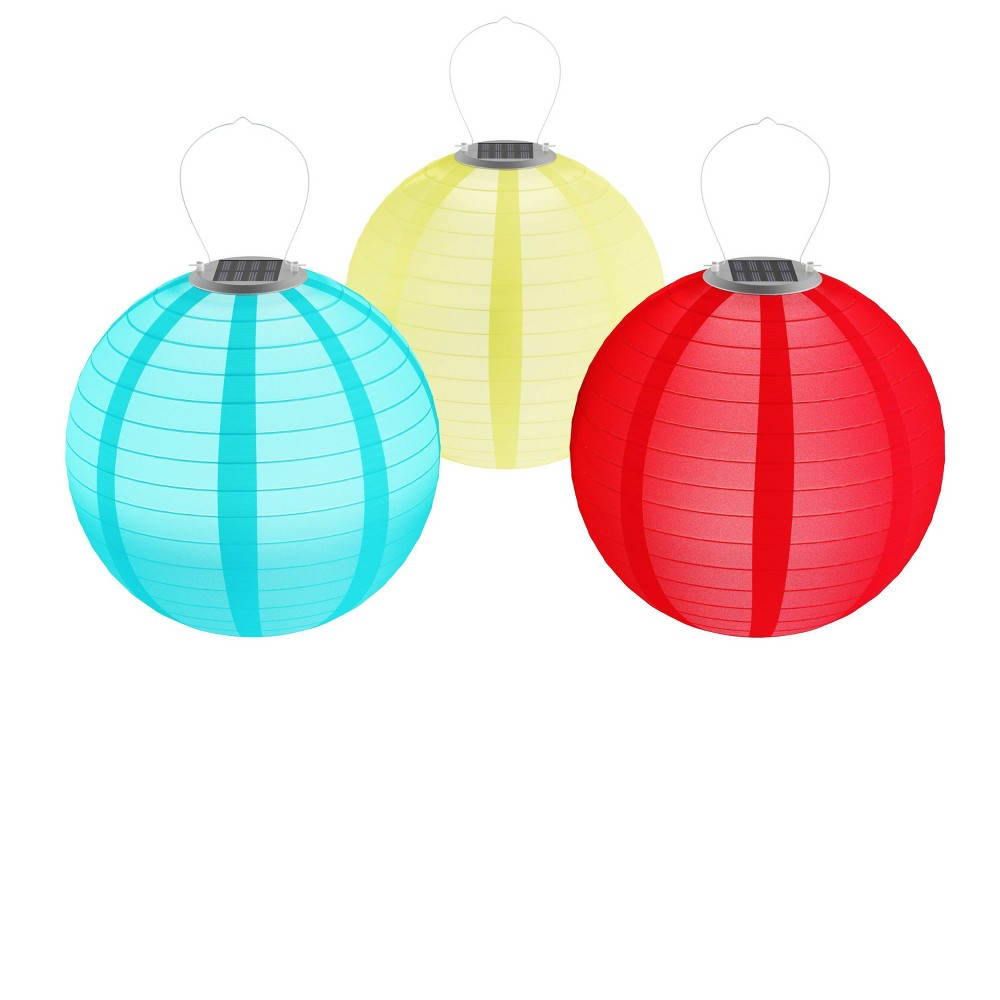 3pk Chinese Solar LED Outdoor Hanging Lanterns Multi - Pure Garden, Yellow Red Blue