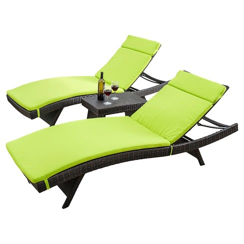 Luana 3pc Wicker Patio Adjustable Chaise Lounge Set with Cushions - Christopher Knight Home - image 1 of 4