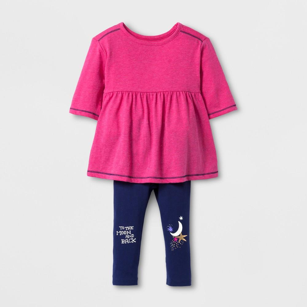 Toddler Girls' Top And Bottom Set - Cat & Jack Pink 12 M, Size: 12M