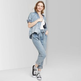 Women's High-Rise Tapered Paperbag Jeans - Wild Fable™ Light Wash 18