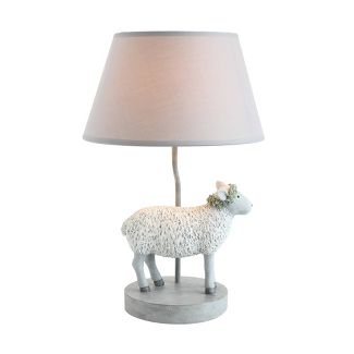 Resin Sheep Lamp with Linen Sade - Creative Co-Op
