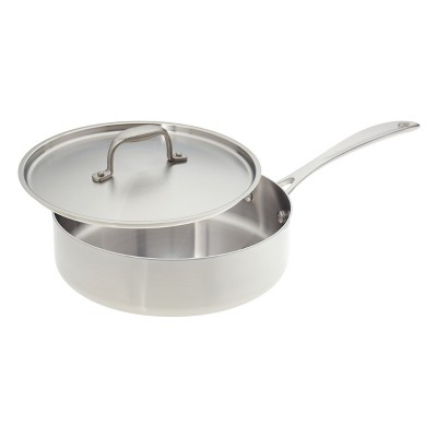 American Kitchen Cookware Tri-Ply Stainless Steel 10 Inch Covered Sauté Pan
