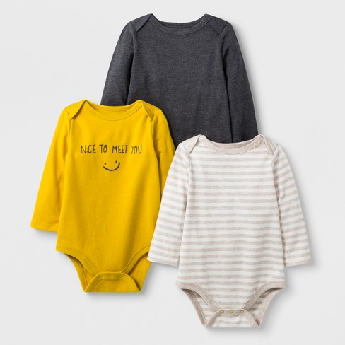 6e4016d534d6 Baby Boys  3pk Long Sleeve Bodysuits - Cat   Jack™ Yellow   Target