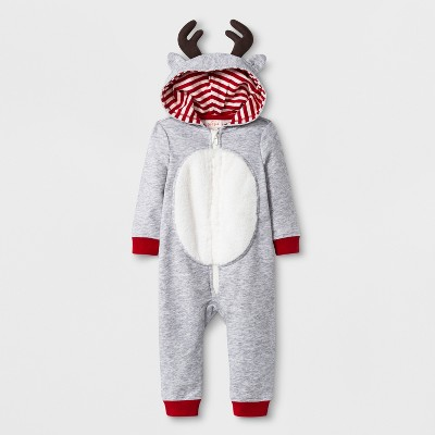 Baby Boys' Long Sleeve Terry Hooded Reindeer Romper with Critter Ears - Cat & Jack™ Heather Gray 0-3M