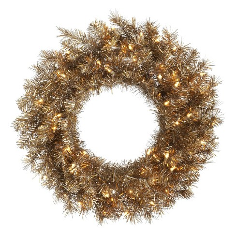 "30"" Pre-Lit Christmas Metal Mix Tinsel Wreath - Clear Lights - image 1 of 1"