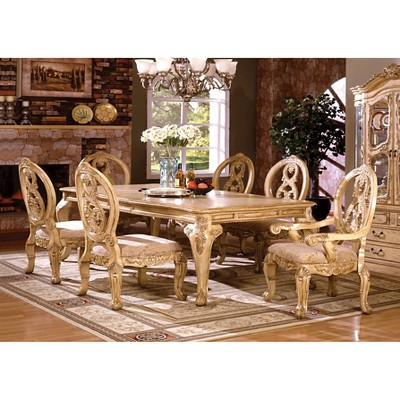 Sun U0026 Pine 7pc Elegant Carved French Style Dining Table Set Wood/Antique  White : Target