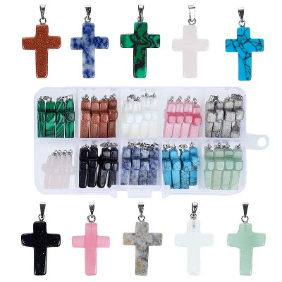 Jewelry Making Supplies, Cross Pendant Gemstone Charms (10 Colors, 40 Pieces)