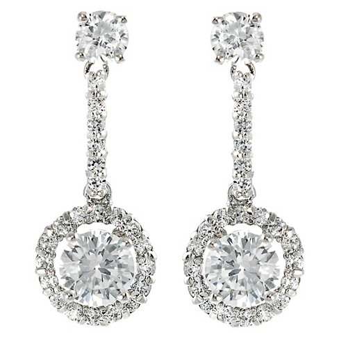 1/2 CT. T.W. Round-cut CZ Pave Set Polished Dangle Earrings in Sterling Silver - Silver - image 1 of 2