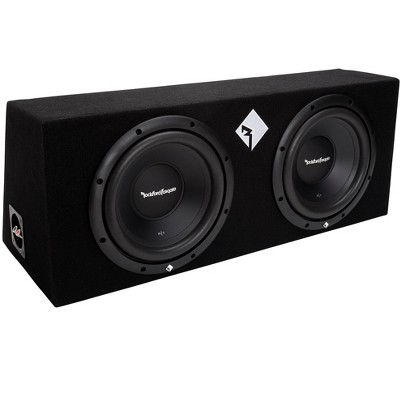 Rockford Fosgate R1-2X10 Prime Dual 10 Inch 400 Watt Loaded Subwoofer Sub Sealed Enclosure w/ Aluminum Voice Coil for 2 Car or Vehicle Speakers, Black
