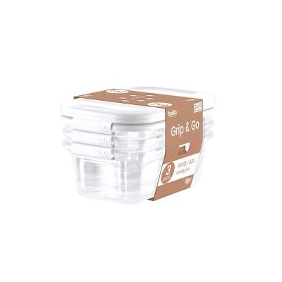 Grip & Go 3pk 5.5qt Locking Lid Box Clear - Bella Storage